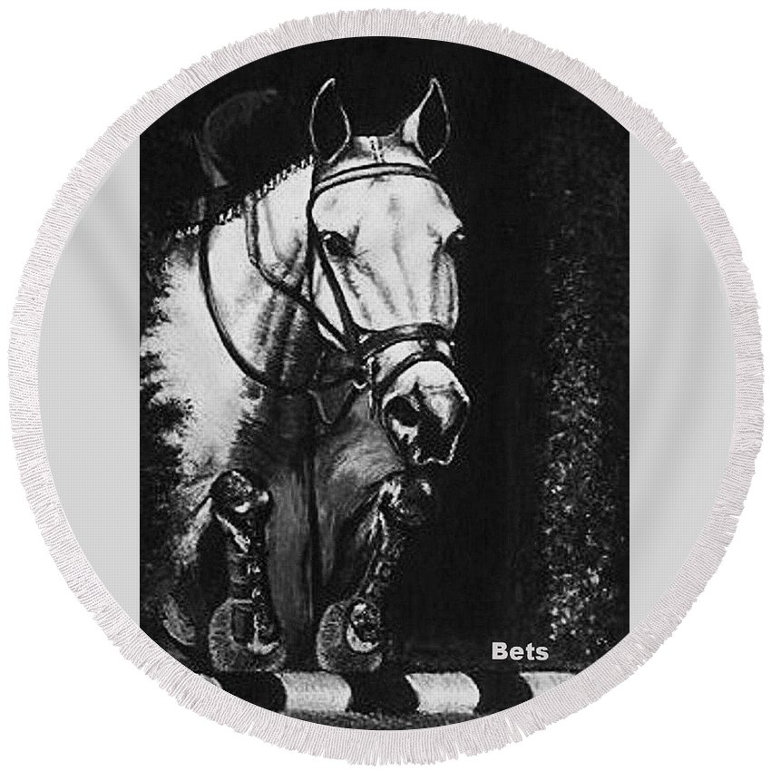 Horse Round Beach Towel featuring the painting Horse Painting Jumper No Faults Black And White by Bets Klieger