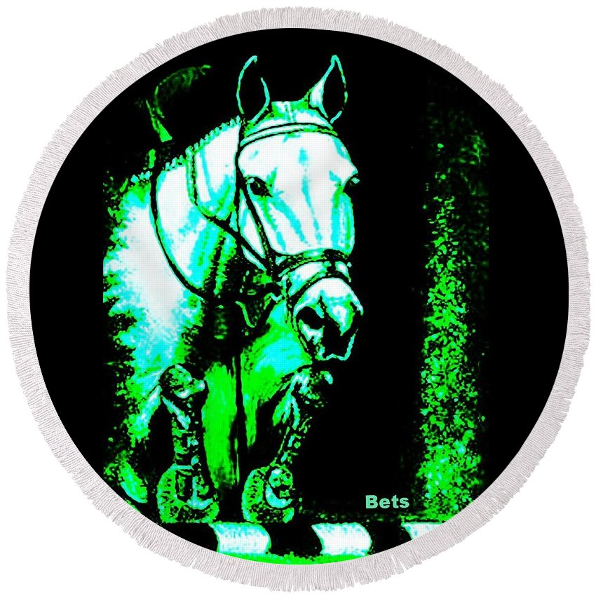 Horse Round Beach Towel featuring the painting Horse Painting Jumper No Faults Black Blue And Green by Bets Klieger