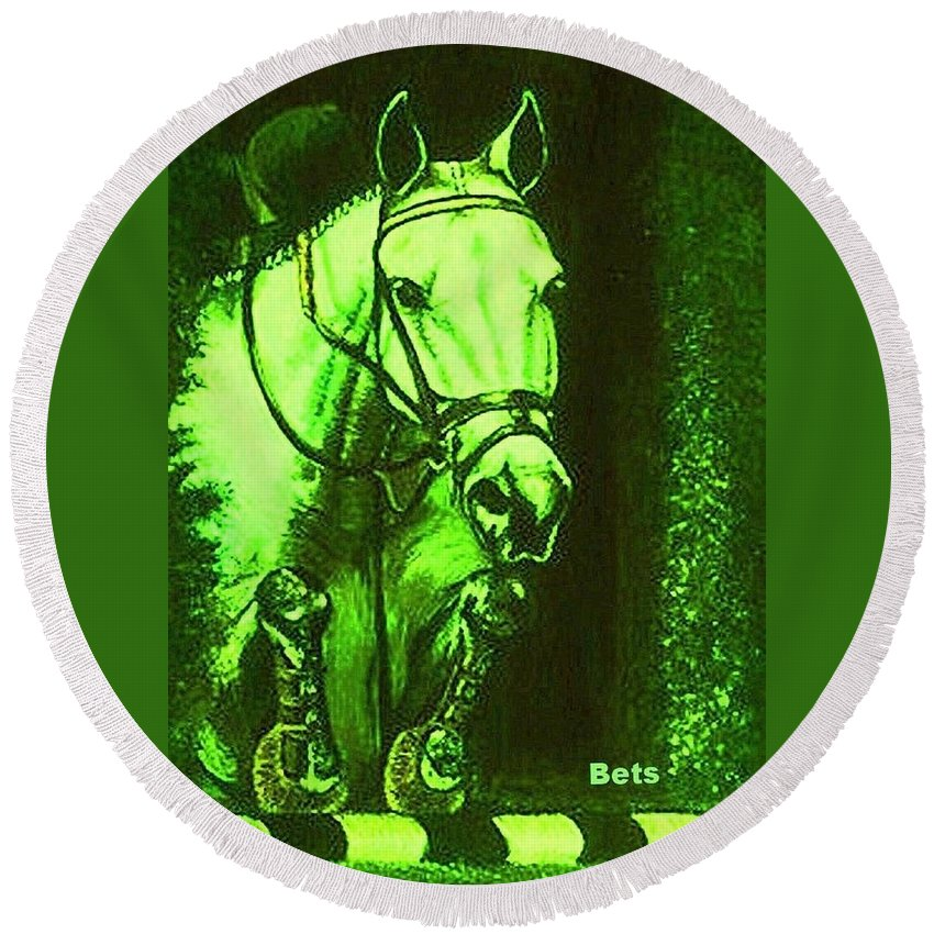 Horse Round Beach Towel featuring the painting Horse Painting Jumper No Faults Deep Greens by Bets Klieger