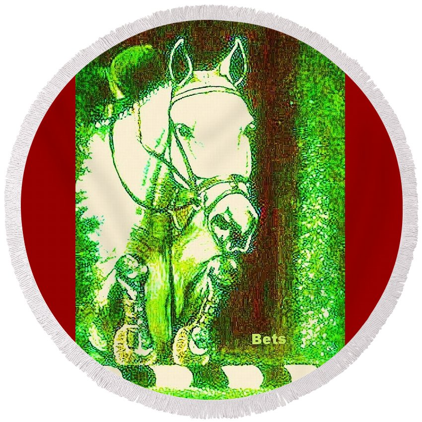 Horse Round Beach Towel featuring the painting Horse Painting Jumper No Faults Green With Reds by Bets Klieger