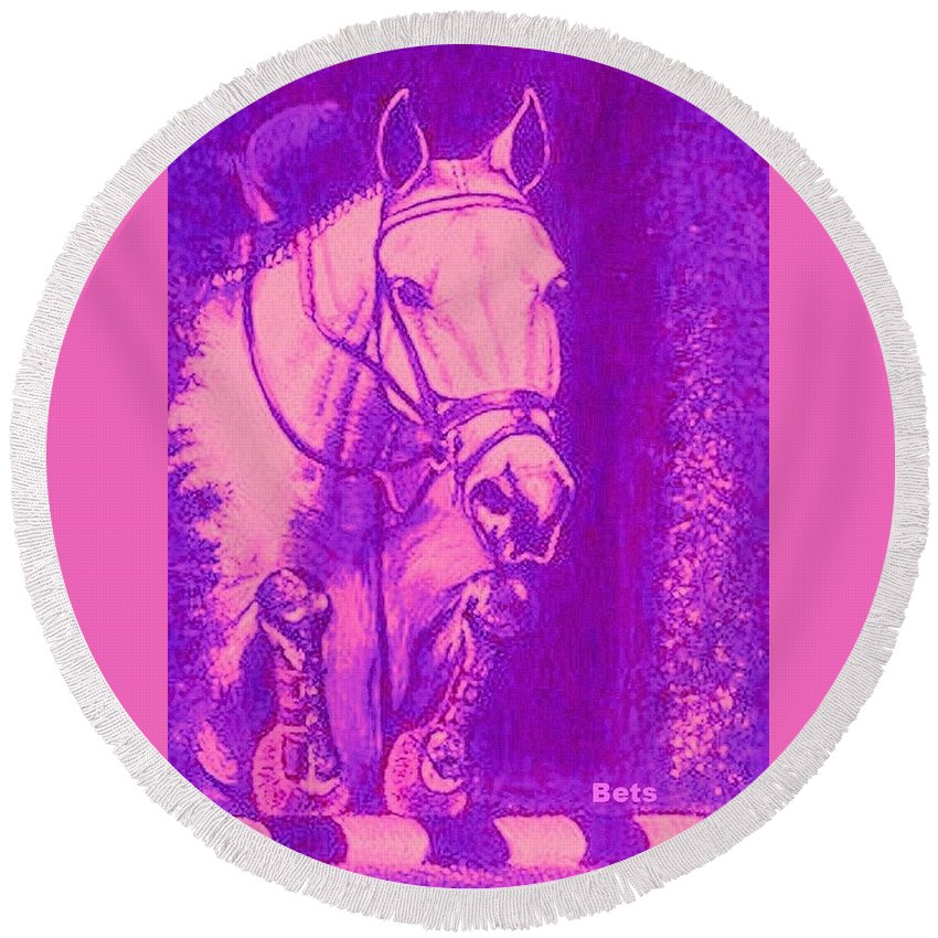 Horse Round Beach Towel featuring the painting Horse Painting Jumper No Faults Hot Pink by Bets Klieger
