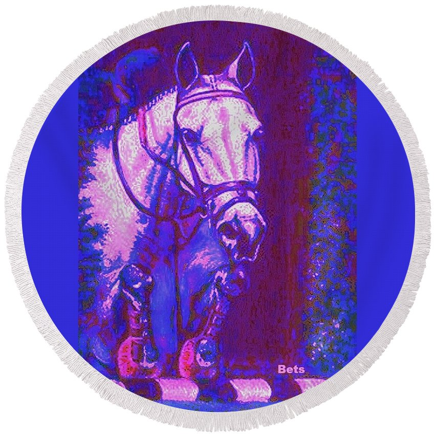 Horse Round Beach Towel featuring the painting Horse Painting Jumper No Faults Purple And Blue by Bets Klieger