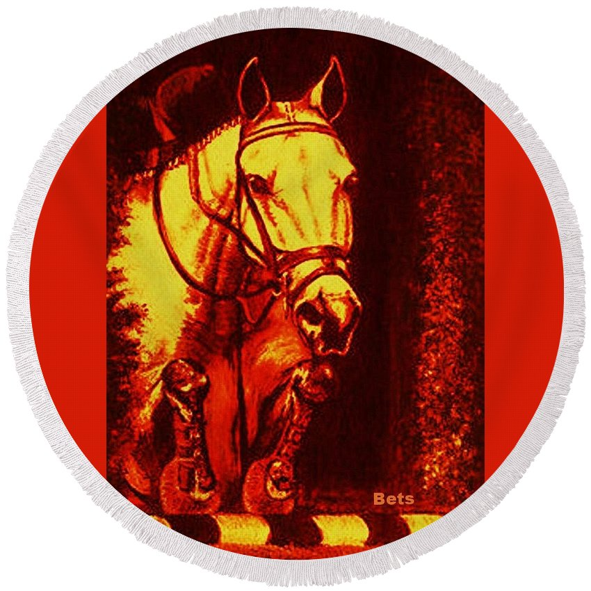 Horse Round Beach Towel featuring the painting Horse Painting Jumper No Faults Reds by Bets Klieger