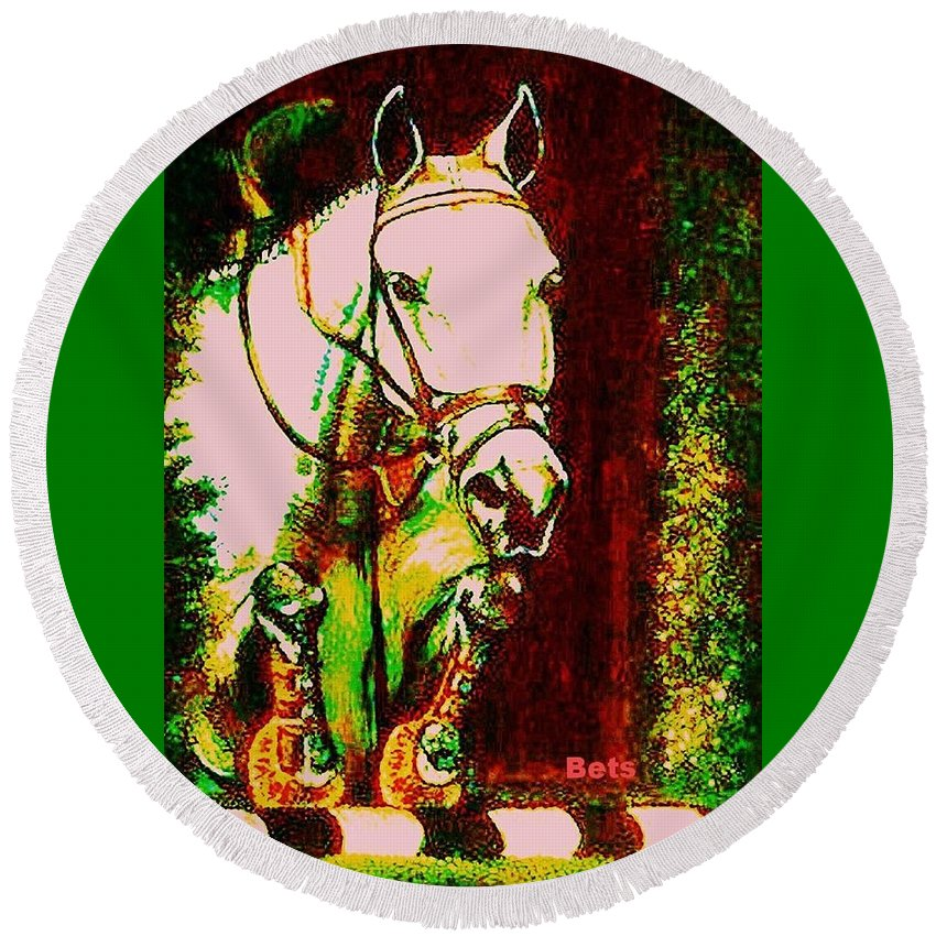Horse Round Beach Towel featuring the painting Horse Painting Jumper No Faults Reds Greens by Bets Klieger