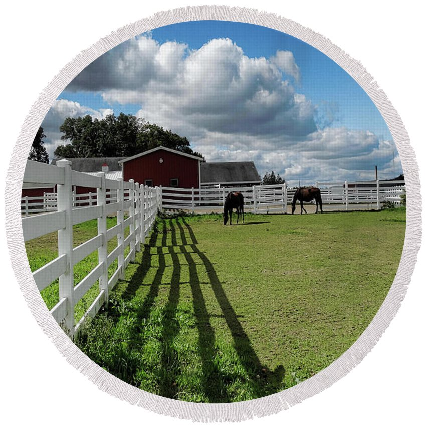 Fence Round Beach Towel featuring the photograph Horse Pen by Bill Dussault