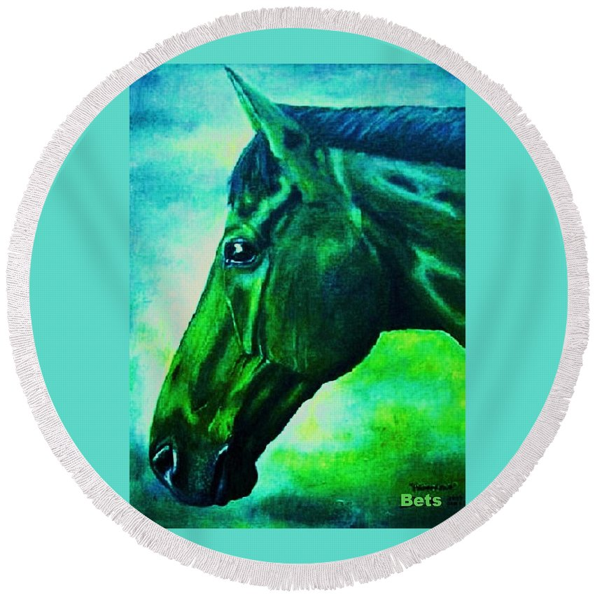Horse Art Round Beach Towel featuring the painting horse portrait PRINCETON blue green by Bets Klieger