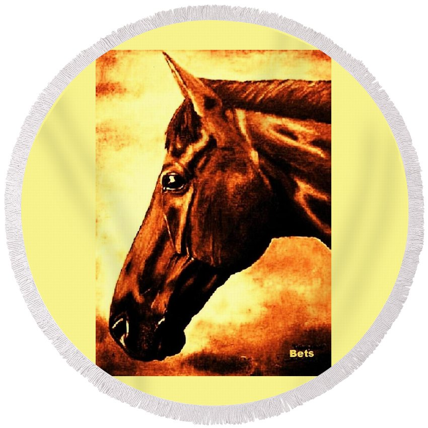 Horse Art Round Beach Towel featuring the painting horse portrait PRINCETON brown tones by Bets Klieger