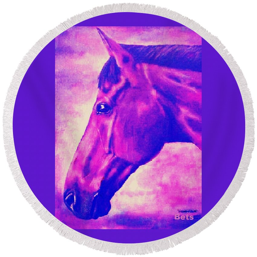Horse Art Round Beach Towel featuring the painting horse portrait PRINCETON pink by Bets Klieger