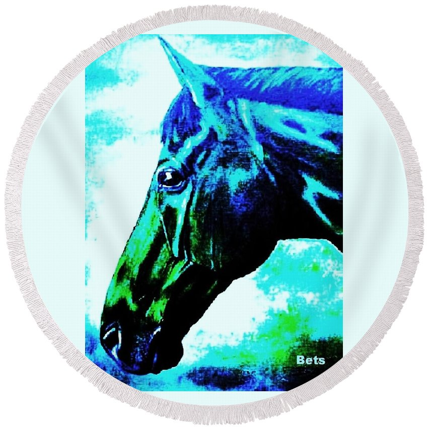 Horse Art Round Beach Towel featuring the painting horse portrait PRINCETON really blue by Bets Klieger