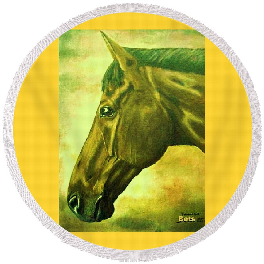 Horse Art Round Beach Towel featuring the painting horse portrait PRINCETON soft colors by Bets Klieger
