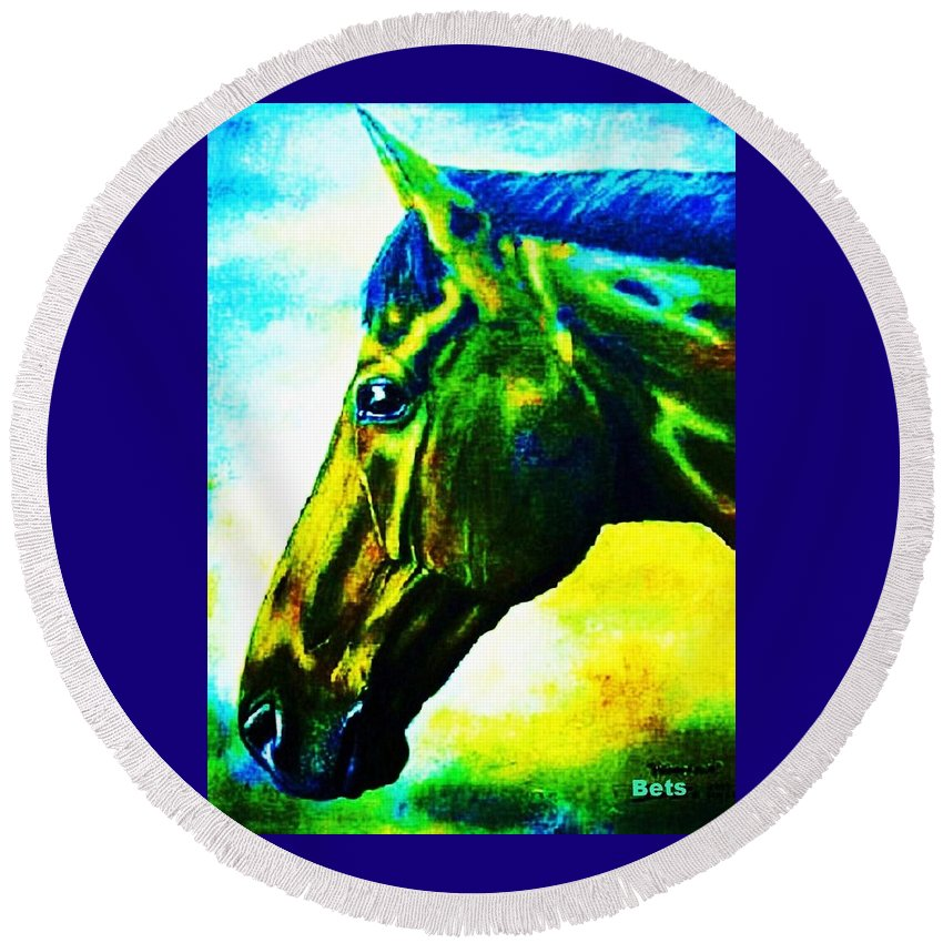 Horse Art Round Beach Towel featuring the painting horse portrait PRINCETON vibrant yellow and blue by Bets Klieger