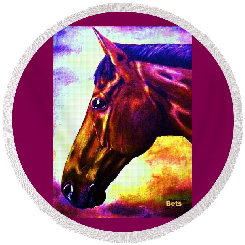 Horse Art Round Beach Towel featuring the painting horse portrait PRINCETON wow purples by Bets Klieger