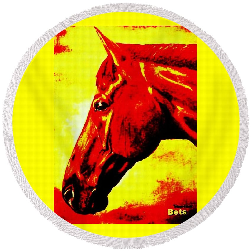 Horse Art Round Beach Towel featuring the painting horse portrait PRINCETON yellow and red by Bets Klieger