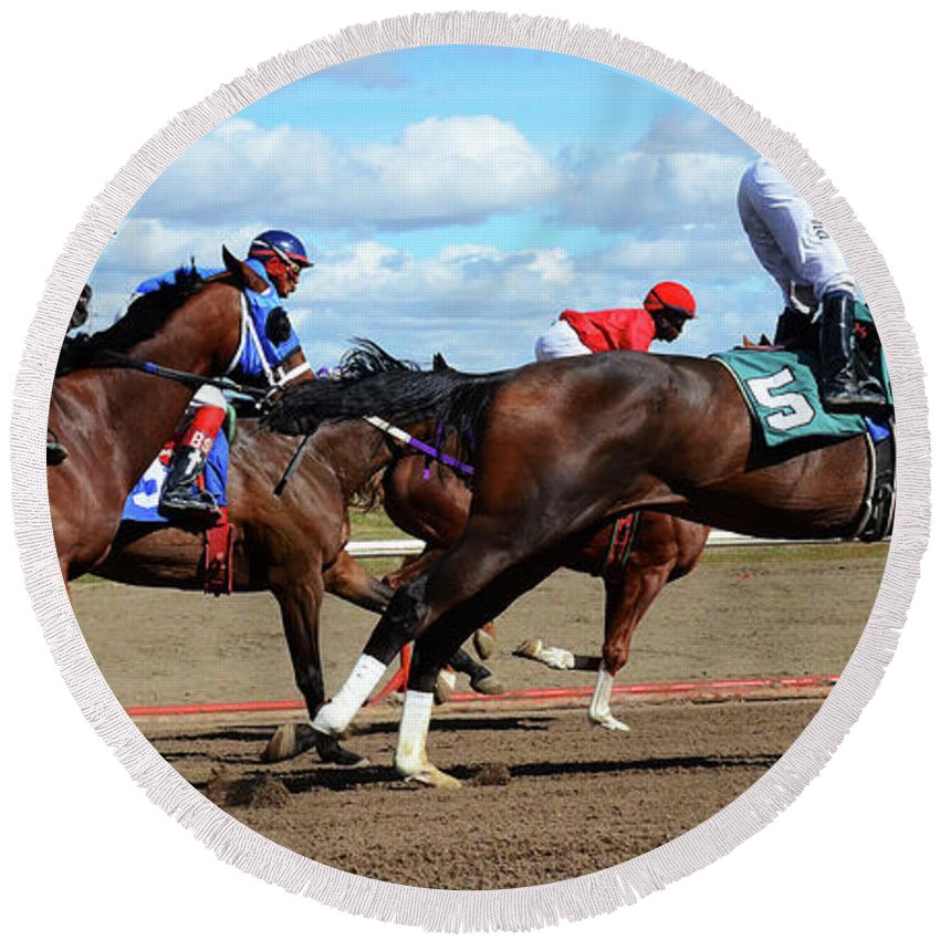 Horse. Horses Round Beach Towel featuring the photograph Horse Power 6 by Bob Christopher