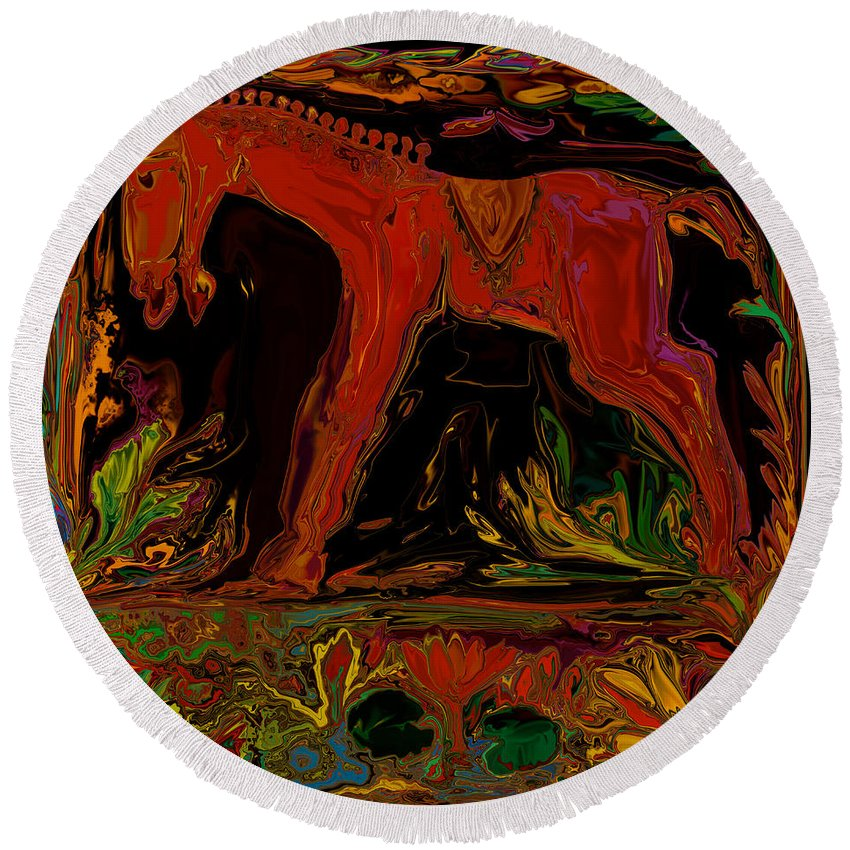 Animal Round Beach Towel featuring the digital art Horse by Rabi Khan