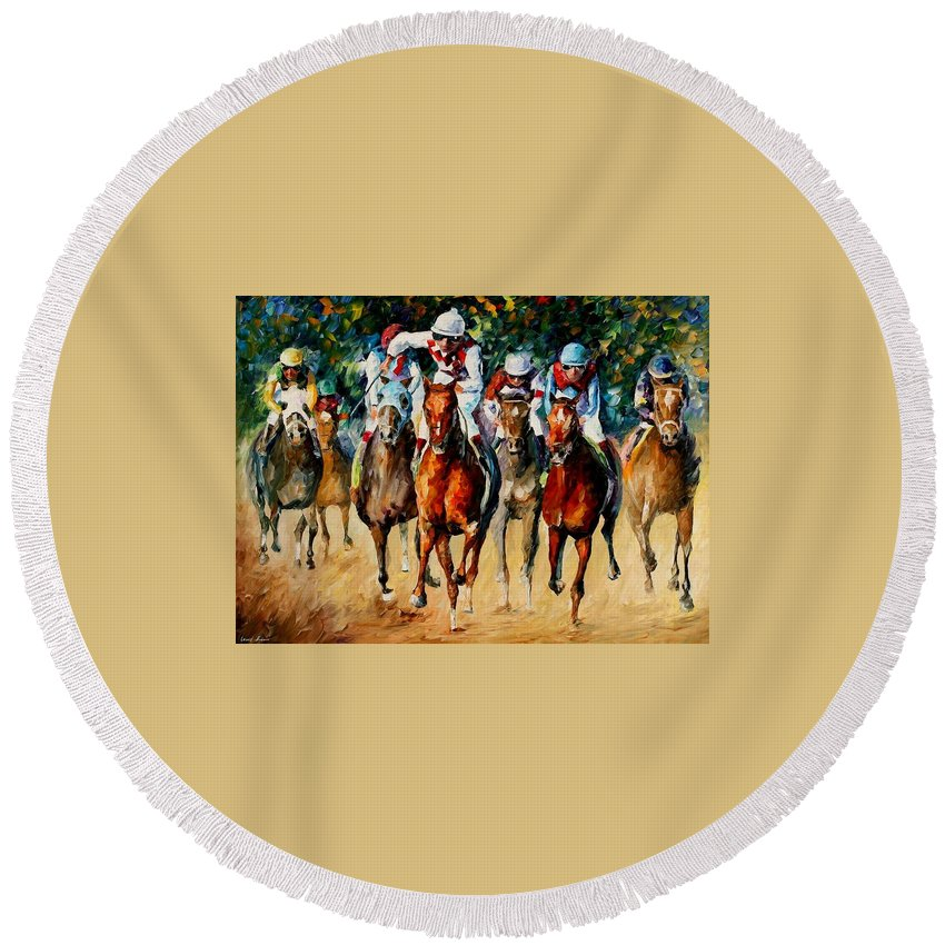 Afremov Round Beach Towel featuring the painting Horse Race by Leonid Afremov