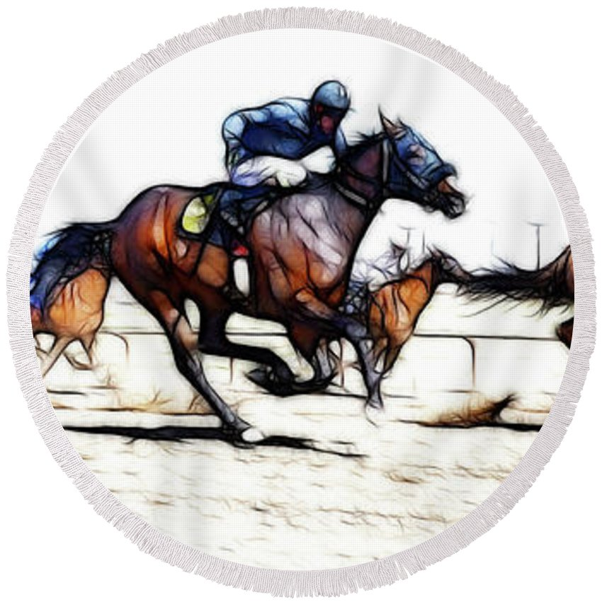 Jockey Round Beach Towel featuring the photograph Horse Racing Dreams 1 by Bob Christopher