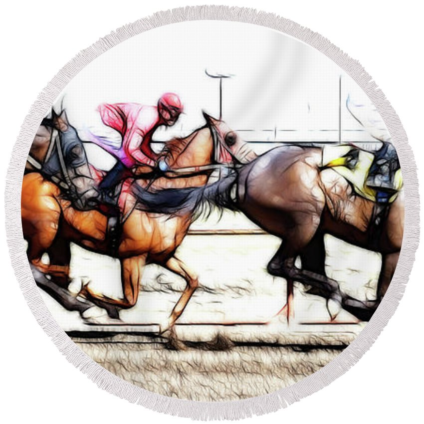 Jockey Round Beach Towel featuring the photograph Horse Racing Dreams 2 by Bob Christopher