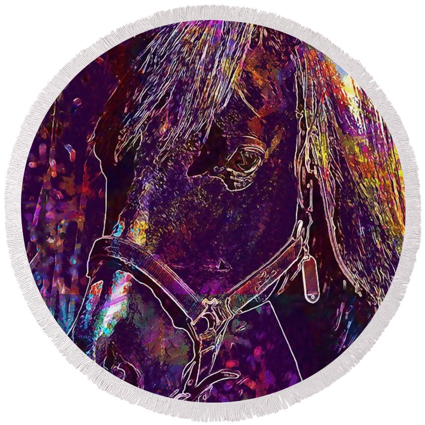 Horse Round Beach Towel featuring the digital art Horse Spanish Arabic Crin Stable by PixBreak Art