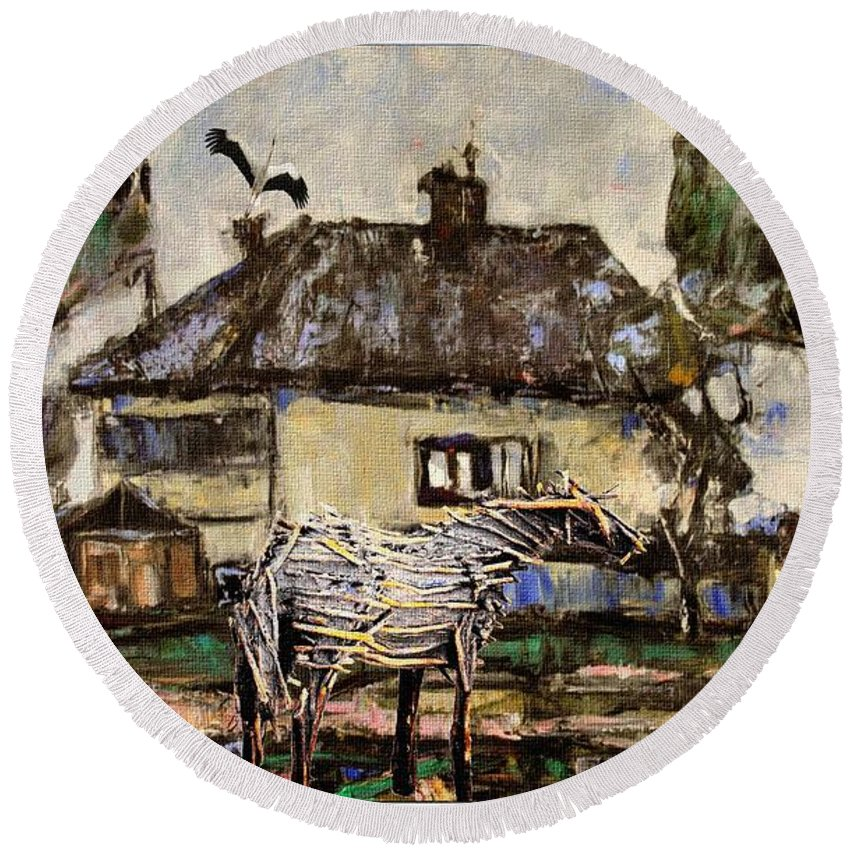 Modern Painting Round Beach Towel featuring the mixed media Horse Statue 44 by Pemaro