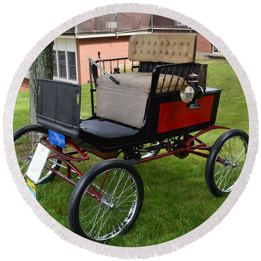 Cars Round Beach Towel featuring the photograph Horseless Carriage-c by Charles HALL