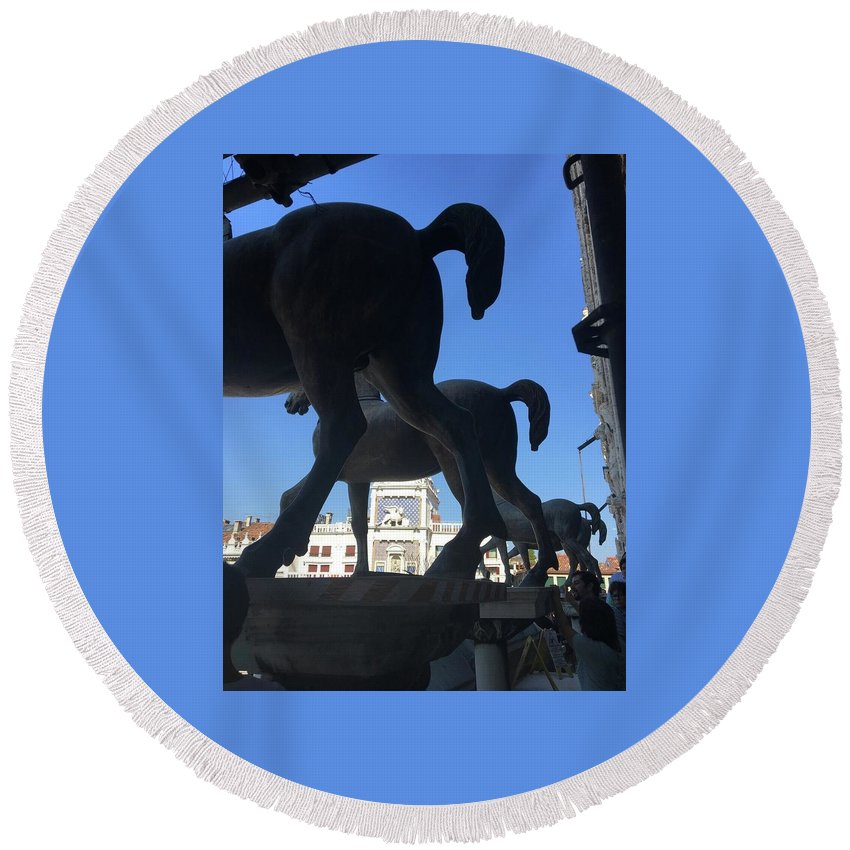 Horses Of St. Marco Round Beach Towel featuring the digital art Horses Asses by Cynthia Ervin