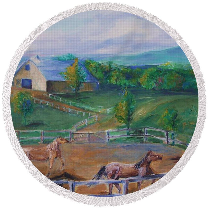 Animals Round Beach Towel featuring the painting Horses At Gettysburg by Eric Schiabor