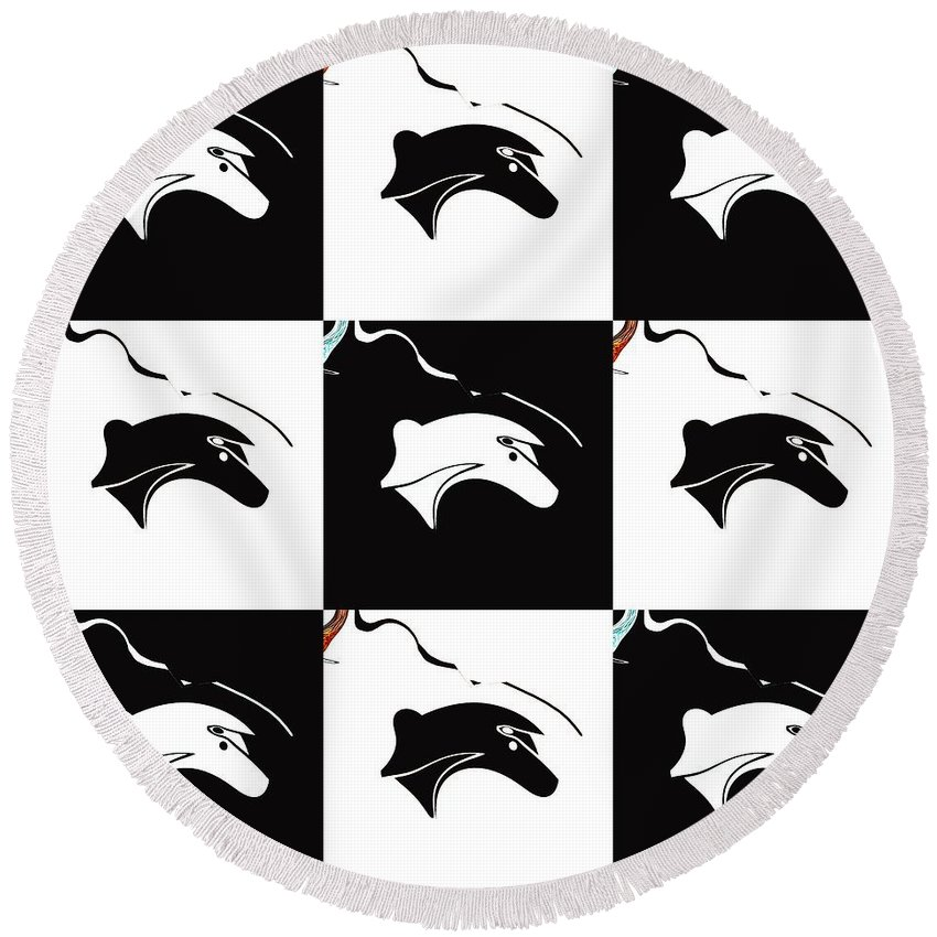 Abstract Round Beach Towel featuring the digital art Fable Chess by Elisabeth Skajem Atter