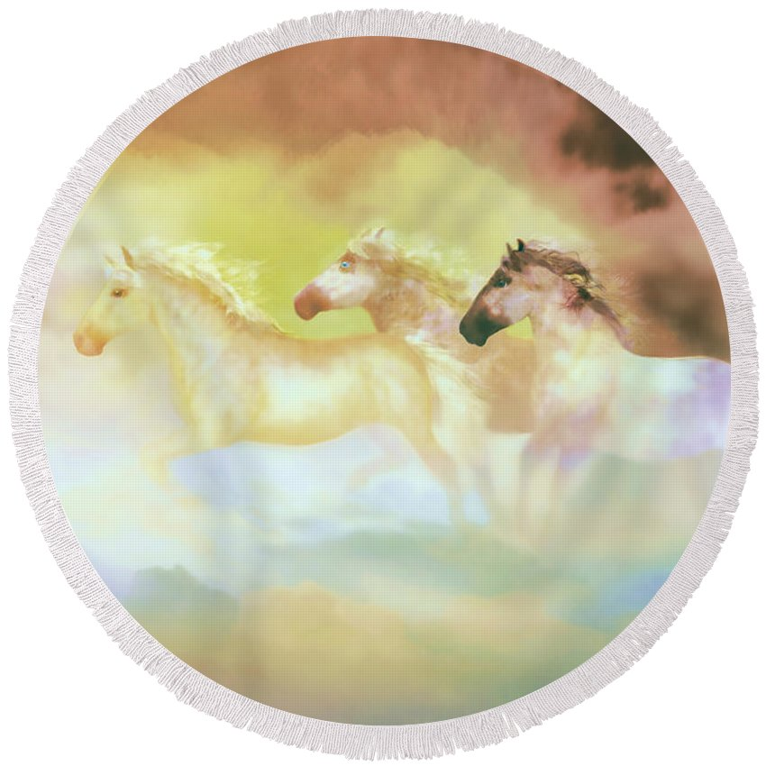 Horses Round Beach Towel featuring the painting Horses In A Pearly Mist by Valerie Anne Kelly