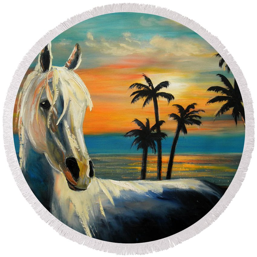 Horse Round Beach Towel featuring the painting Horses In Paradise Tell Me Your Dream by Gina De Gorna
