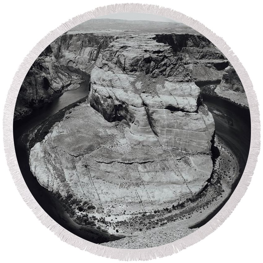 Round Beach Towel featuring the photograph Horseshoe Bend In Black And White by Matthew Justis