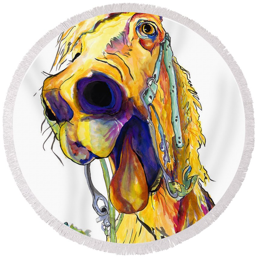 Animal Painting Round Beach Towel featuring the painting Horsing Around by Pat Saunders-White