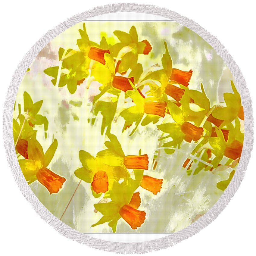 Daffodils Round Beach Towel featuring the digital art A Host Of Golden Daffodils by Nick Eagles
