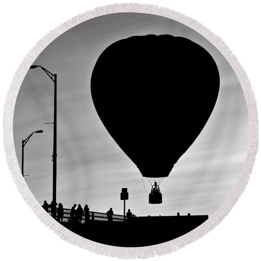 Silhouette Round Beach Towel featuring the photograph Hot Air Balloon Bridge Crossing by Bob Orsillo