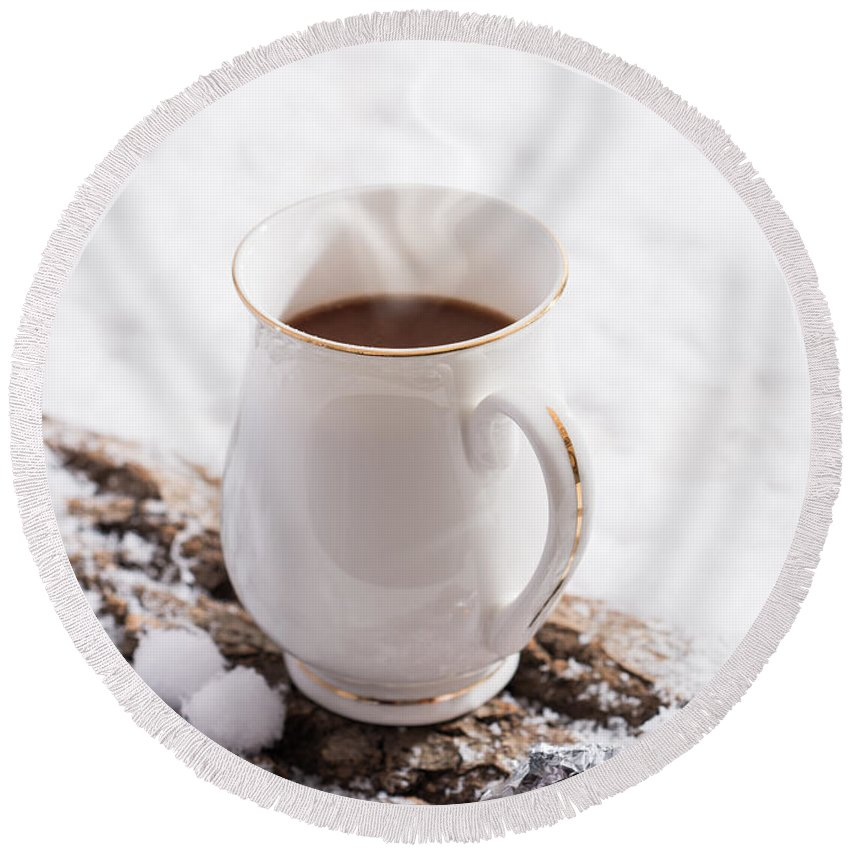 Hot Round Beach Towel featuring the photograph Hot Chocolate Drink by Amanda Elwell
