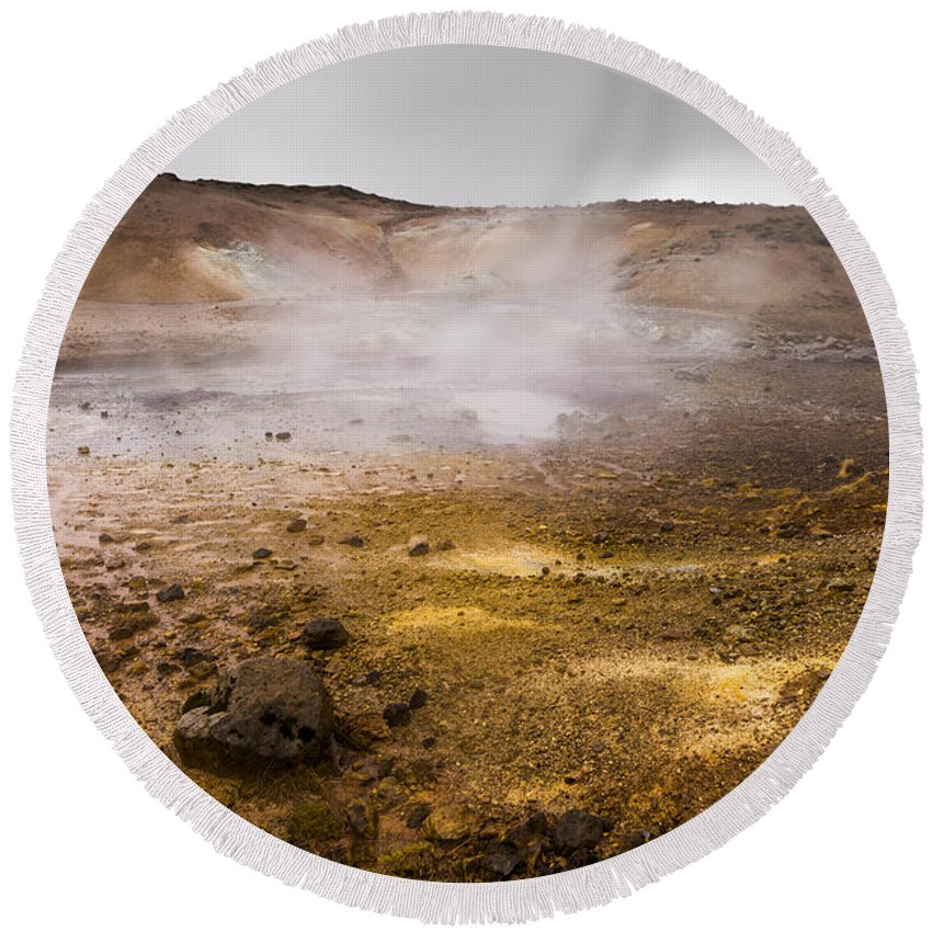 Beautiful Round Beach Towel featuring the photograph Hot Earth by Svetlana Sewell