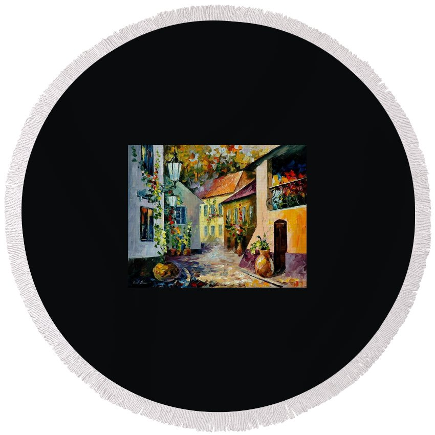Landscape Round Beach Towel featuring the painting Hot Noon Original Oil Painting by Leonid Afremov