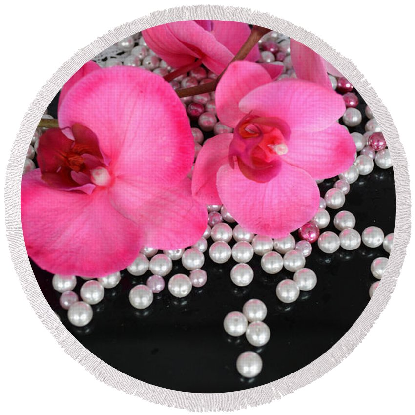 Orchids Round Beach Towel featuring the photograph Hot Pink Orchids 2 by To-Tam Gerwe