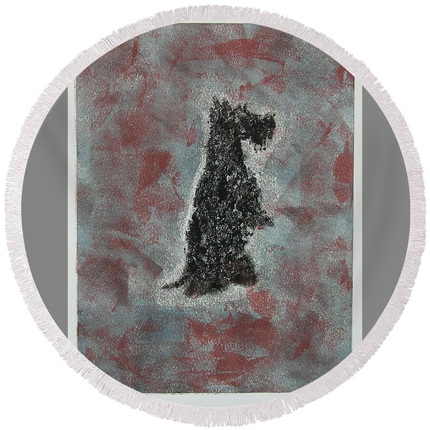 Scottish Terrier Round Beach Towel featuring the mixed media Hot Scottie by Cori Solomon
