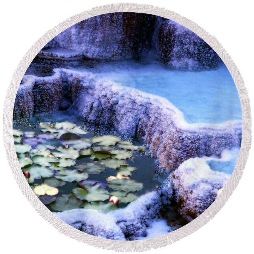 Lily Round Beach Towel featuring the photograph Hot Springs And Lilies by Wayne King