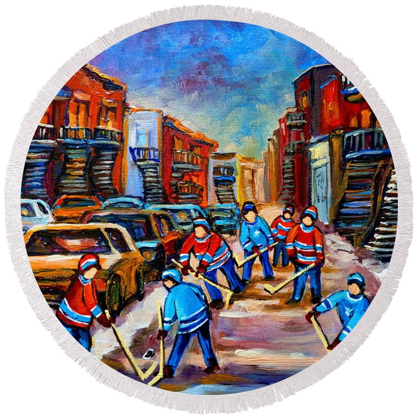 Montreal Round Beach Towel featuring the painting Hotel De Ville Montreal Hockey Street Scene by Carole Spandau