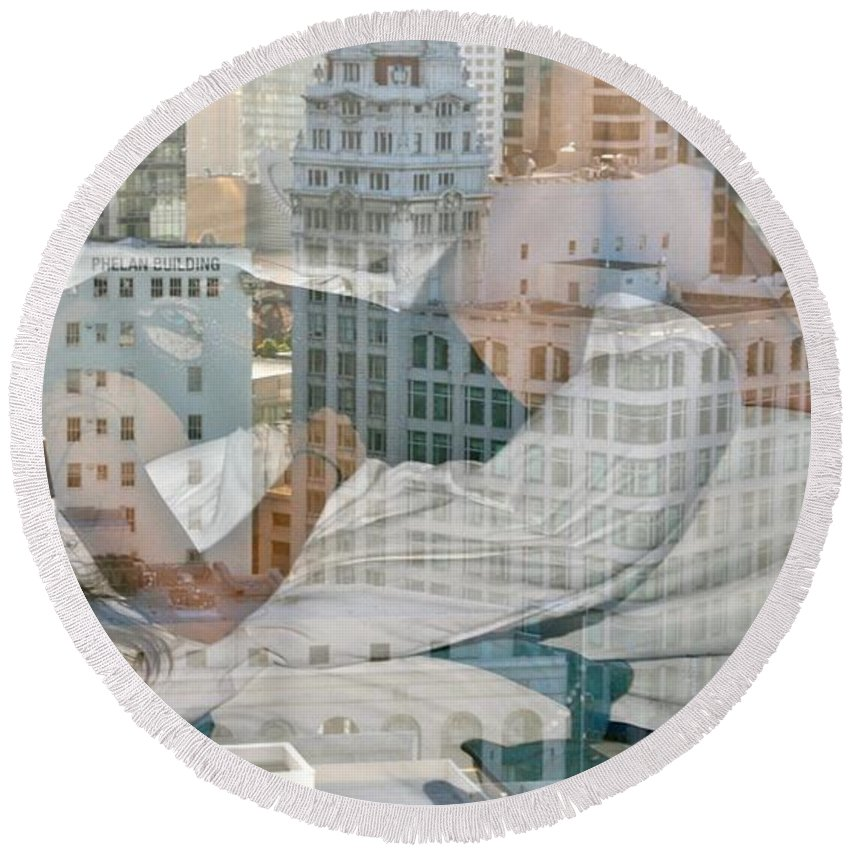 San Francisco Round Beach Towel featuring the photograph Hotel Phelan Reflection by Dave Boseman