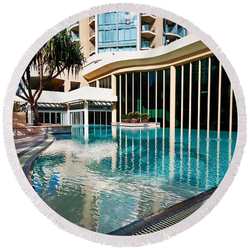 Holiday Round Beach Towel featuring the photograph Hotel Swimming Pool by Darren Burton