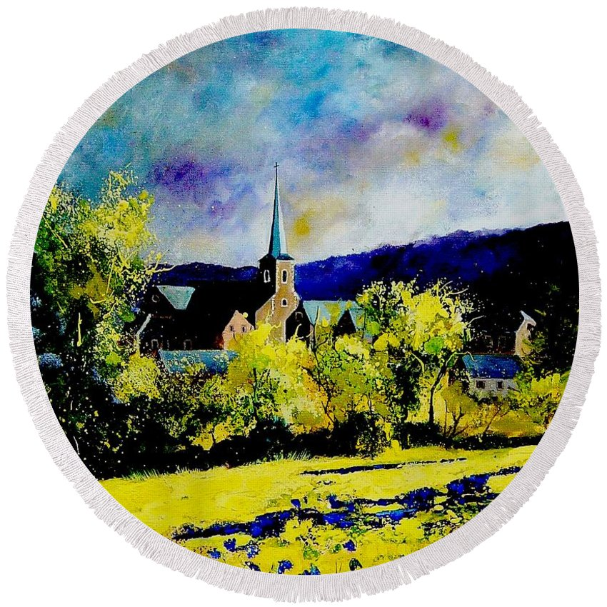 Poppies Round Beach Towel featuring the painting Hour Village Belgium by Pol Ledent