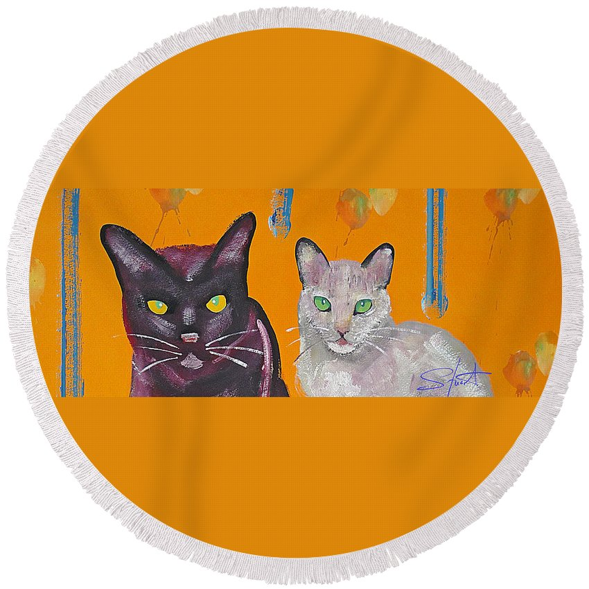 Cat Round Beach Towel featuring the painting House Cats by Charles Stuart