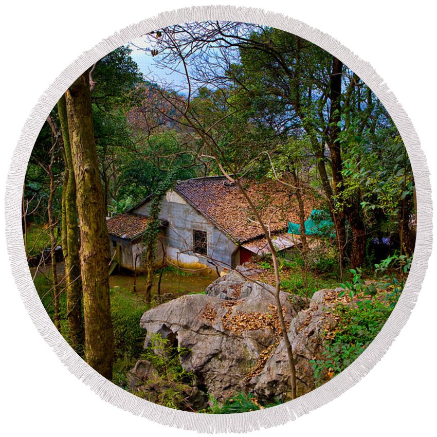 Landscape Round Beach Towel featuring the photograph House In China Woods by James O Thompson