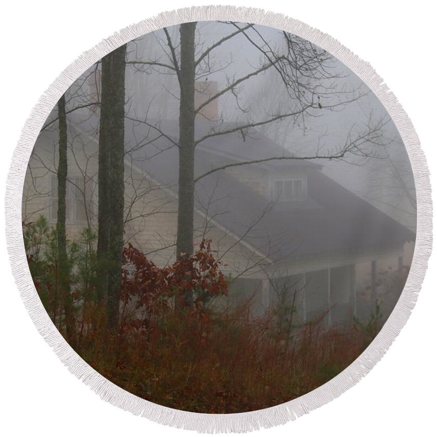 House Round Beach Towel featuring the photograph House In The Fog by Kathryn Meyer