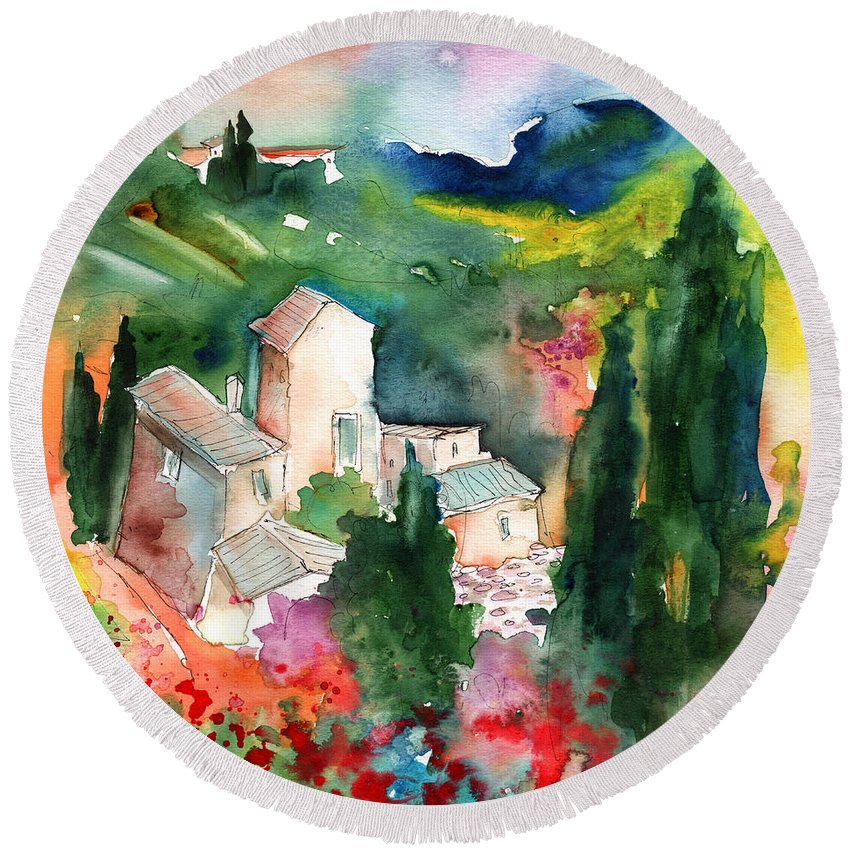 Landscapes Round Beach Towel featuring the painting Houses In Montepulciano In Tuscany 01 by Miki De Goodaboom