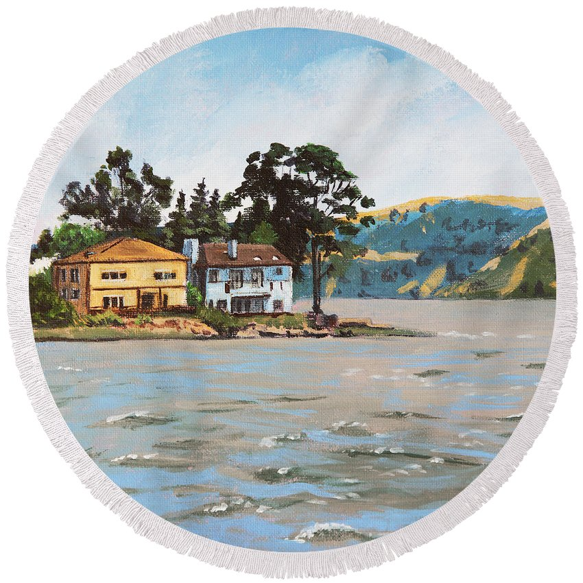Buildings Round Beach Towel featuring the painting Houses Next To Water by Masha Batkova