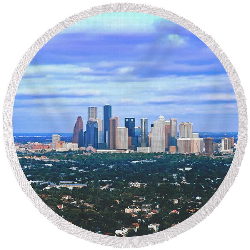 Houston Round Beach Towel featuring the photograph Houston 1980s by Library Of Congress